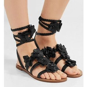 TORY BURCH Black Blossom Gladiator Sandals
